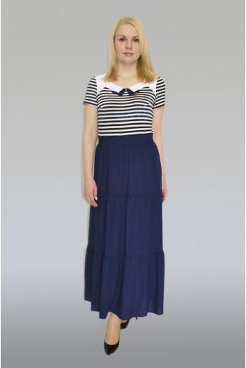 743. Платье комбинированное из Вискозы, Штапеля и Костюмной ткани