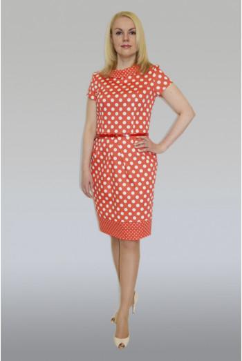 748. Платье с ремешком из Сатина цвет красный в горох