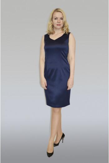 750. Платье из Атласа и Шифона цвет темно синий