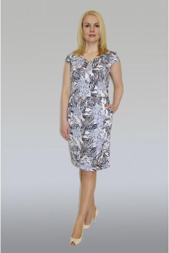 751. Платье из хлопка - сатина набивного цвет бело-синий