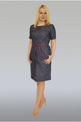 752. Платье из Джинса цвет темно-синий в мелкий горох