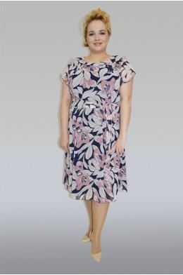 754. Платье из Шифона цвет темно-синий рисунок Лилии