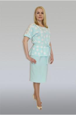 758. Платье из тонкого Крепа + Кружево цвет Бирюза