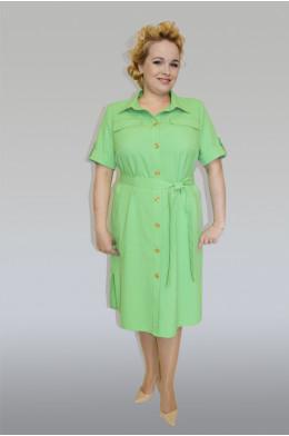 759. Платье из Льна цвет ярко-зеленый