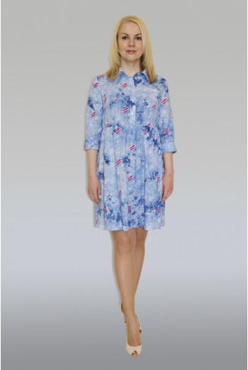 760. Платье из штапеля цвет голубой рисунок Губы