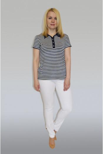 766. Рубашка Поло из Вискозы темно-синяя полоса
