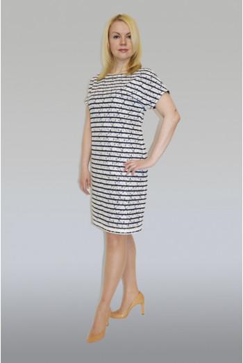 774. Платье из Гипюра в бело-синюю полоску
