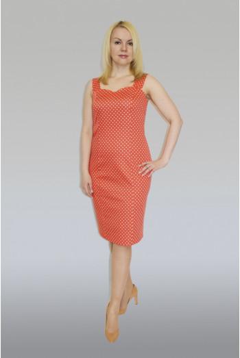 766. Платье-Сарафан из Хлопка цвет красный в белый горох
