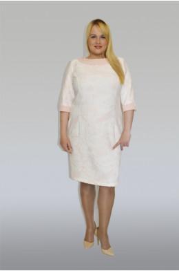 778. Платье из Жаккарда и Крепа цвет Розово-Белый