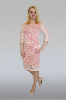 779. Платье из Гипюра цвет Розово-Белый