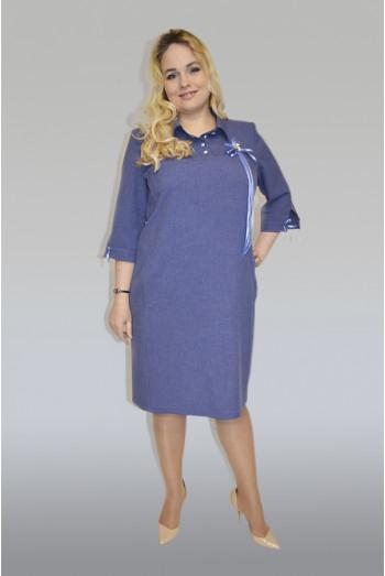 864. Платье из льна цвет темно-синий
