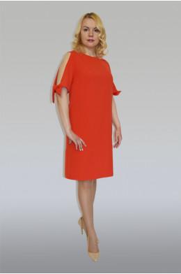 866. Платье из крепа цвета Коралл