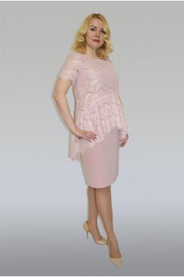 869. Комплект: Платье + Блуза из Крепа и Гипюра