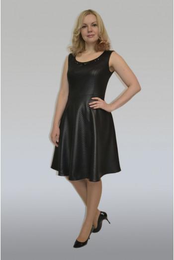 700. Платье-Сарафан из Трикотажа под Кожу