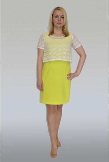 """771. Платье из плательной ткани """"Индо"""" цвет Лимон и Балеро"""