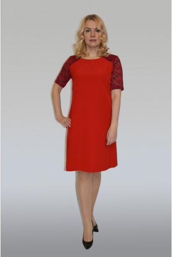 773. Платье из Крепа цвет Красный и Гипюр Красно-черный