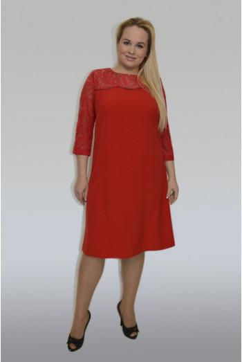 792. Платье из Крепа и Гипюра цвет Василек