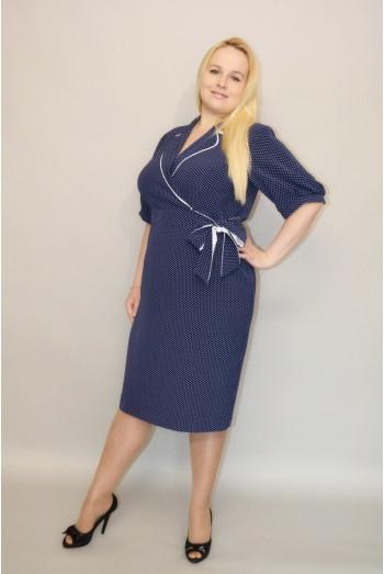 880. Платье из Креп-Мача цвет темно-синий в белый горох