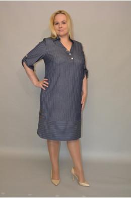 905. Платье из джинсовой ткани цвет синий в узкую полоску