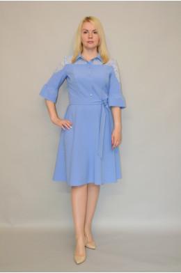 912. Платье из Крепа цвет Голубой с гипюром