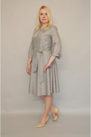 913. Платье из костюмной ткани - клетка с люрексом