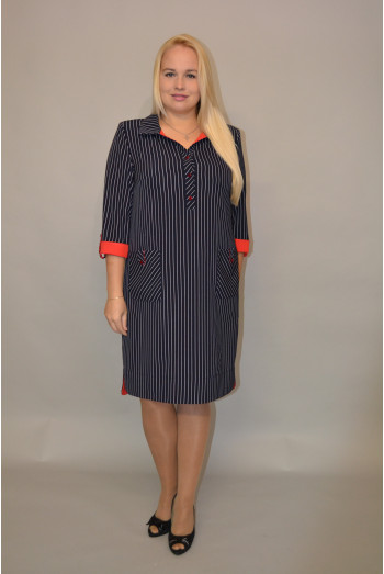 801. Платье из костюмной ткани в темно синюю полоску с красной отделк