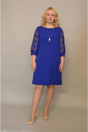 855. Платье из крепа и гипюра цвет Василек