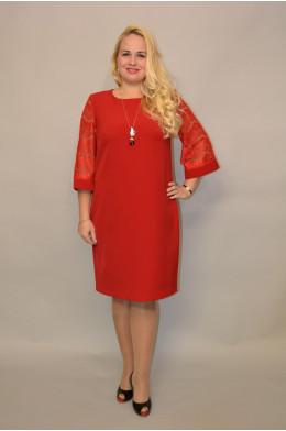 858. Платье из Крепа цвет Красный и Гипюра