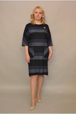 908. Платье из джинсовой ткани цвет Серо-синий в полоску
