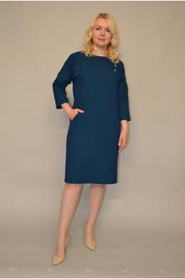 934. Платье из костюмной ткани цвет темная морская волна