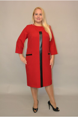 937. Платье из костюмной ткани цвет Бордо с отделкой из кожи