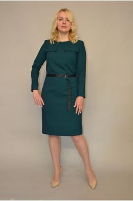 938. Платье из Костюмной ткани цвет темно-зеленый