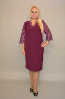 941. Платье из Крепа и Гипюра цвет Слива
