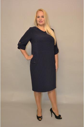 942. Платье из Крепа в полоску цвет Темно-синий
