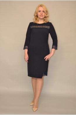 945. Платье из Крепа цвет Темно-синий с Гипюром