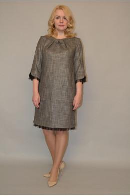 946. Платье из Костюмной ткани с отделкой из Черной сетки