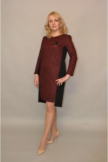 949. Платье комбинированное из Костюмной ткани Меланж и Креп-Стрейч
