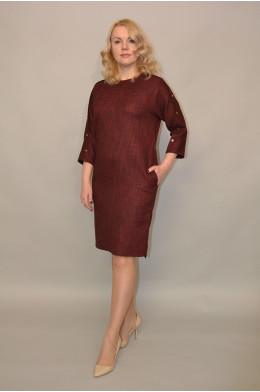 955. Платье из Костюмной ткани Меланж цвет Красный
