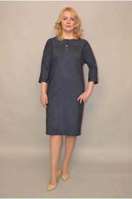 957. Платье из Костюмной ткани цвет Джинс в узкую полоску