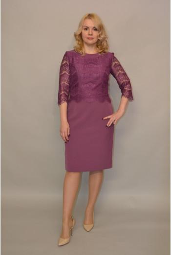958. Платье из Крепа и Гипюра цвет Слива