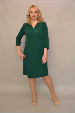 961. Платье из Крепа и Гипюра цвет Зеленый