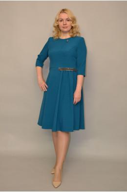968. Платье из Поливискозы цвет Морская Волна - отделка из Бестящей ткани