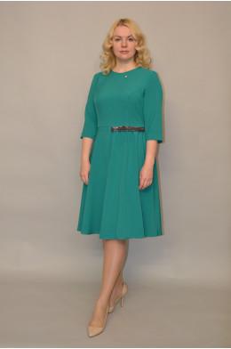 968. Платье из Поливискозы цвет Изумруд - отделка из Бестящей ткани