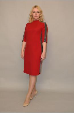 969. Платье из Костюмной ткани цвет Бордо - отделка из Бестящей ткани