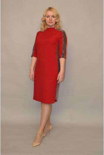 969. Платье из Костюмной ткани - отделка из Бестящей ткани