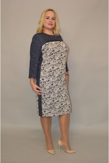 973. Платье из Трикотажа Бело-Синий и Темно-синий люрекс
