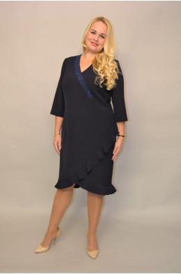 974. Платье из Крепа цвет Темно-Синий
