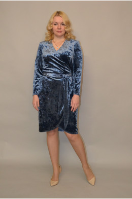975. Платье из бархата цвет Серо-голубой