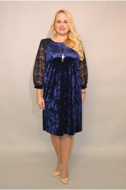 978. Платье из Бархата цвет Темно-синий