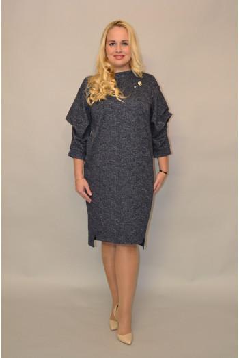 979. Платье из Трикотажа Темно-синий люрекс